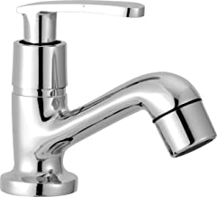 Smile Pillar Cock Stainless Steel Tap Chrome | Health Faucet| Water Tap | Basin Tap | for Bathroom Kitchen Sink Garden, (Wave Series).