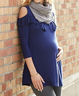 Rumor Has It Cold Shoulder Ruffle-Accent Maternity Tunic