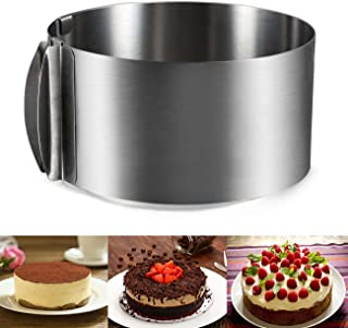 J&P Home Stainless Steel Adjustable Round Cake Ring Mold Mousse Mold, 6 Inch to 12 Inch