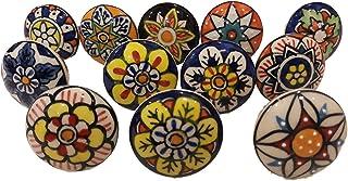 JGARTS 12 x Mix Vintage Look Flower Ceramic Knobs Door Handle Cabinet Drawer Cupboard Pull Design 004