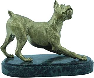 CTOC Dog Boxer plays Bronze statue Handmade Figurine on natural Ural rock Original paperweight Super Present and Home Decoration