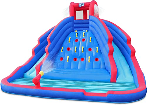 popular Deluxe Inflatable Water Slide wholesale Park – Heavy-Duty Nylon Bouncy Station for Outdoor Fun - Climbing Wall, Two Slides & Splash Pool – Easy to Set Up & Inflate with Included lowest Air Pump & Carrying Case online sale