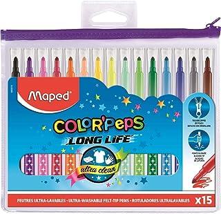 Maped - Feutres Long Life - 15 Feutres de Coloriage Ultra-lavables et Longue Durée - Pointe Moyenne Bloquée - Couleurs Viv...
