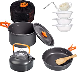 Deacroy Camping Cookware Mess Kit,Nonstick Aluminum Lightweight Camping Pots,Kettle and Pans Set with Mesh Set Bag for Bac...
