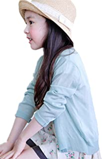 ZKKK 子供Tシャツ 女の子カーディガン ニットシャツ ガールズエアコンシャツ 長袖 アウターウエア 夏 薄手 手触りよい ジュニア 無地 氷のシルク綿 プルオーバー 日焼け止め 風引く防止 綿 吸湿