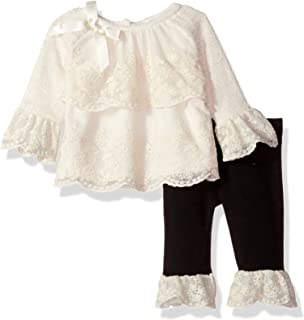 Baby Girls Sweater Knit W. Lace Tier Front Legging Set