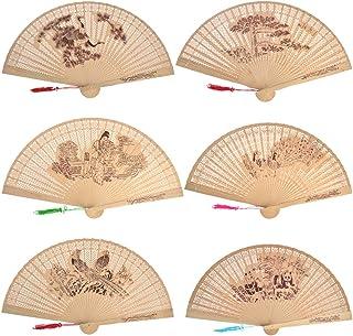 baotongle 6 Stück chinesischer Sandelholz-Fächer aus Holz,