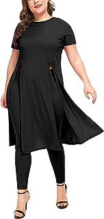 Women's 2 PCs Set Dress with Matching Legging,Short Sleeve Split Hem Shirt Tunic Dresses Set Plus Size