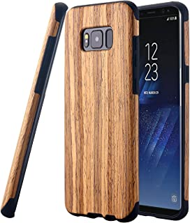 Galaxy S8 Case, LONTECT [Slim Matte] [Shock Absorbing] Flex TPU Non Slip Wood Tactile Extra Grip Rubber Bumper Case Cover for Samsung Galaxy S8 - Teakwood