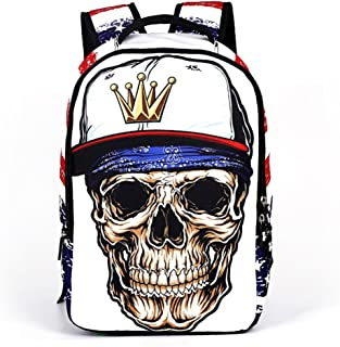 Runningtiger Unique Skull Print Students School Backpacks for Teenage Boys Girls Laptop Bags