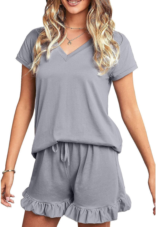 Ekouaer Womens Pajamas Short Sets V-Neck Short Sleeve Shorts Sleepwear Pj Sets