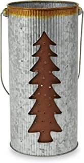Mud Pie Farmhouse Galvanized Tin Christmas Tree Candle Holder Laser Cut Lantern, One Size, Silver