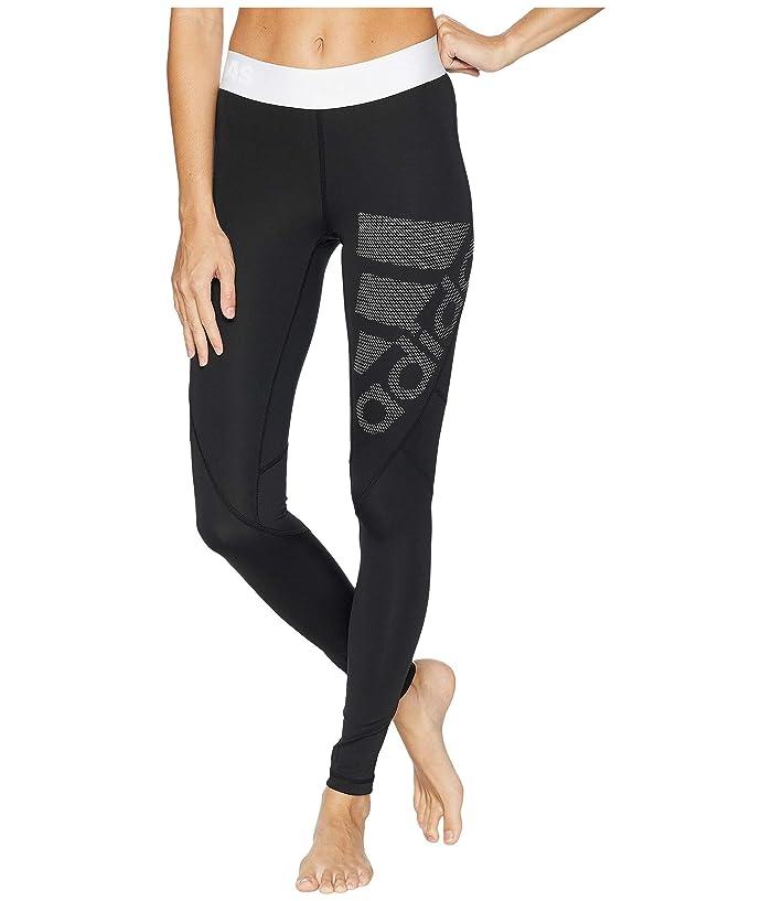 adidas Alphaskin Sport Long Logo Tights (Black/White) Women