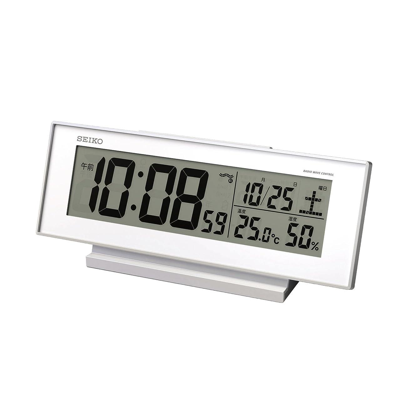グラフィック終わり馬鹿セイコー クロック 目覚まし時計 常時点灯 電波 デジタル カレンダー 温度 湿度 表示 夜でも見える 白 SQ762W SEIKO