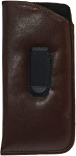 CTM Leather Reader Glasses Case with Clip