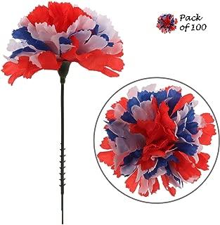 Larksilk Tri-Color Silk Carnation Picks, Artificial Flowers for Weddings, Decorations, DIY Decor, 100 Count Bulk, 3.5