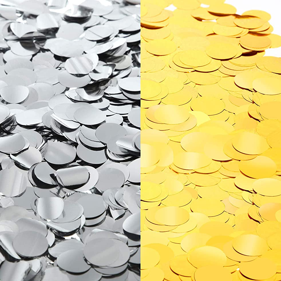 Round Tissue Paper Table Confetti Dots for Wedding Birthday Party Decoration, 1.76 oz (Gold and Silver Foil Confetti, 1.5cm)