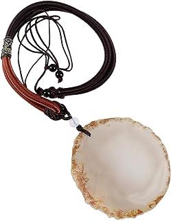 ياتينغ غير منتظم العقيق مقطع حجر قلادة مع حبل قابل للتعديل ، شفاء كريستال الجود قلادة