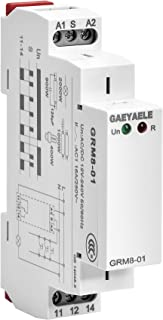 GAEYAELE GRM8 Electronic Latching Relay Memory Relay Impulse Relay SPDT 16A Wide Range Voltage Din Rail Mounted(GRM8-01,AC/DC12V~240V)