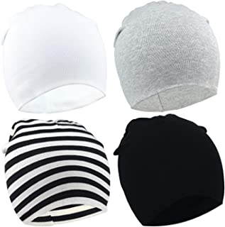 DRESHOW BQUBO 4 Pieces Baby Beanie Newborn Toddler Soft Cute Knit Hat Hospital Hats for Baby Boys Infant Cap Beanies
