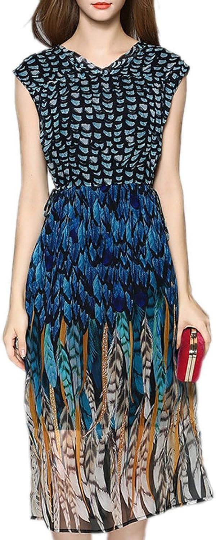 Honghu Women's Silk Printed Slim Fit Short Sleeve Summer Party Dress