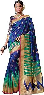 بلوزة نسائية هندية زرقاء تقليدية مناسبة للاحتفالية مصنوعة من القطن الساري 5792