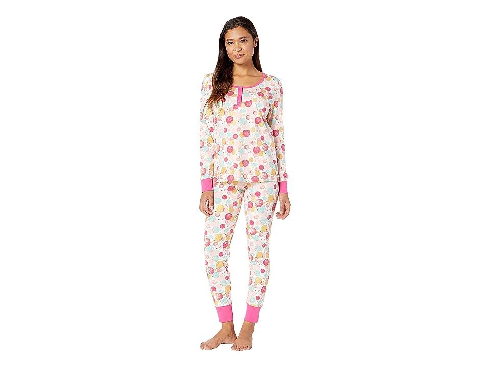 BedHead Long Sleeve Henley Pajama Set (Sparkling Bubbles) Women