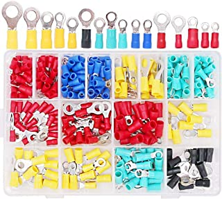Hilitchi 160-Pcs 22-10 AWG Assorted Insulated Ring Wire Crimp Connector Terminals Assortment Kit