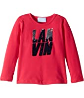 Lanvin Kids - Long Sleeve Sequin Logo T-Shirt (Toddler/Little Kids)