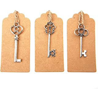Bingcute Mixed Set of 30 Vintage Antique Silver Skeleton Key Charm With 30PCS Kraft Paper Gift Tags & 30 Feet Natural Jute Twine