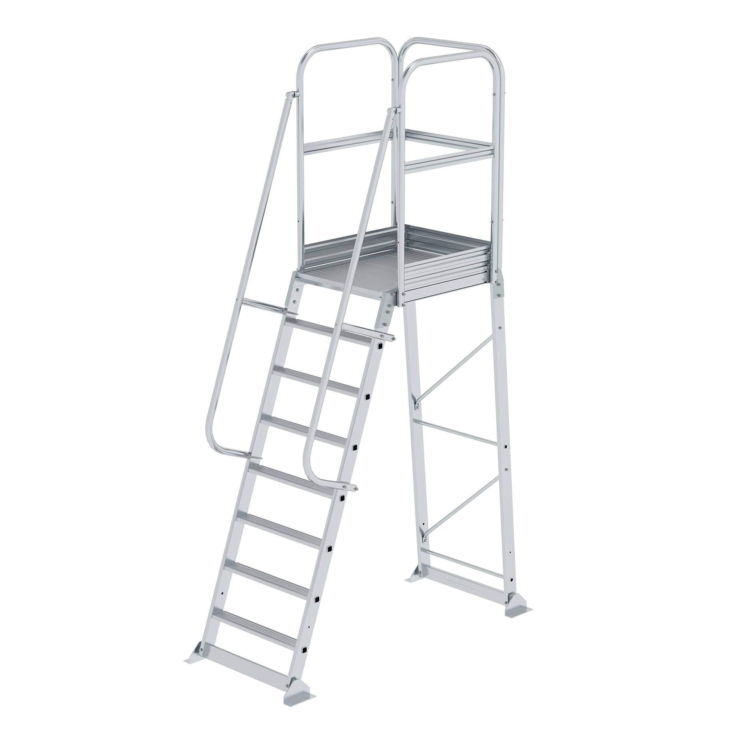 GÜNZBURGER STEIGTECHNIK Escalera de aluminio con plataforma estacionaria de 8 peldaños: Amazon.es: Bricolaje y herramientas
