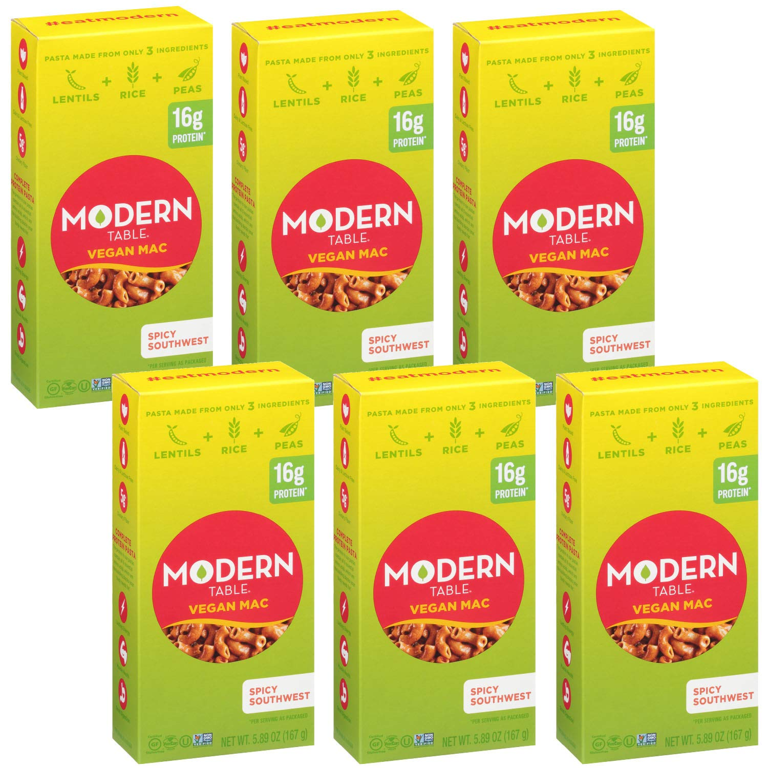 Modern Table Spicy Southwest Vegan Mac & Cheese, Complete Protein, 5.89 oz, 6 Count, Gluten Free, No Artificial Preservatives or Dyes, Certified Vegan