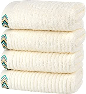 HOULIFE Premium Cotton Hand Towels Set of 4 - Super Soft and Highly Absorbent Hand Towels for Bathroom Daily Use (White, 4...