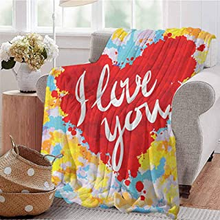 Luoiaax I Love You Bedding Microfiber Blanket Brushstroke Style Valentines Celebration Message My Other Half Celebration Image Super Soft and Comfortable Luxury Bed Blanket W57 x L74 Inch Multicolor
