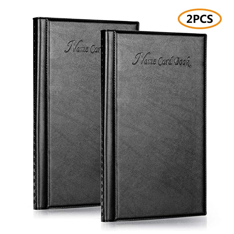 Business Card Book Holder, Leather Business Name Credit Card Organizer, Capacity of 384 Card, Set of 2 Pack