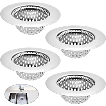 Amazon Com Kitchen Sink Strainer Basket Drain Catcher 2 125 Inch Top 1 Inch Bathroom Sink Strainer Basket Sink Premium Stainless Steel Sink Disposal Stopper Utility Slop Laundry Rv And Lavatory 4pack Home Improvement