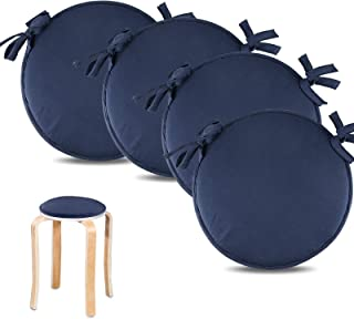 4 Cojín para silla, monocolor, Cojín para Silla con 4 cordones para un agarre seguro, microfibra, Azul oscuro 30 cm(11.8inch)