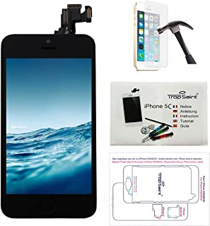 Trop Saint Para iPhone 5C Pantalla COMPLETA Negro - Kit de reparación LCD Guía 5 lenguas, Superficie de trabajo magnética, Herramientas, Film Protector - Vidrio Templado