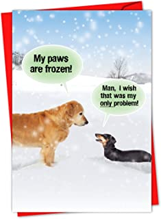 Box of 36 'My Paws Are Frozen Boxed Christmas' Note Card Set with Envelopes 4.63 x 6.75 inch, Happy Holiday Cards, Funny Xmas Stationery Greeting for Golden Retriever, Dog, Animal Lover C5953XSG-B36