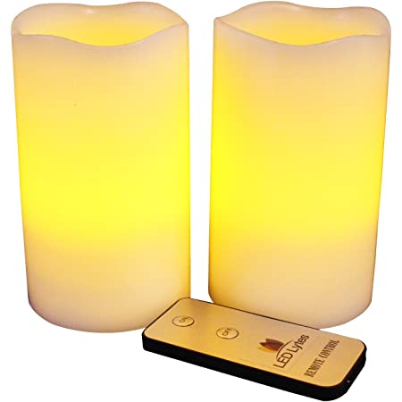 Flameless Candles, Battery Powered Candle Set, 2 Ivory Wax Amber Yellow Flickering Flame Pillars with Remote for Weddings, Parties and Mother's Day Gifts