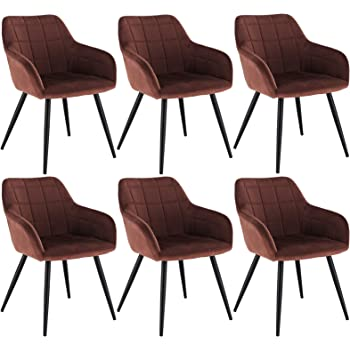 WOLTU 6 x Esszimmerstühle 6er Set Esszimmerstuhl Küchenstuhl Polsterstuhl Design Stuhl mit Armlehne, mit Sitzfläche aus Samt, Gestell aus Metall,