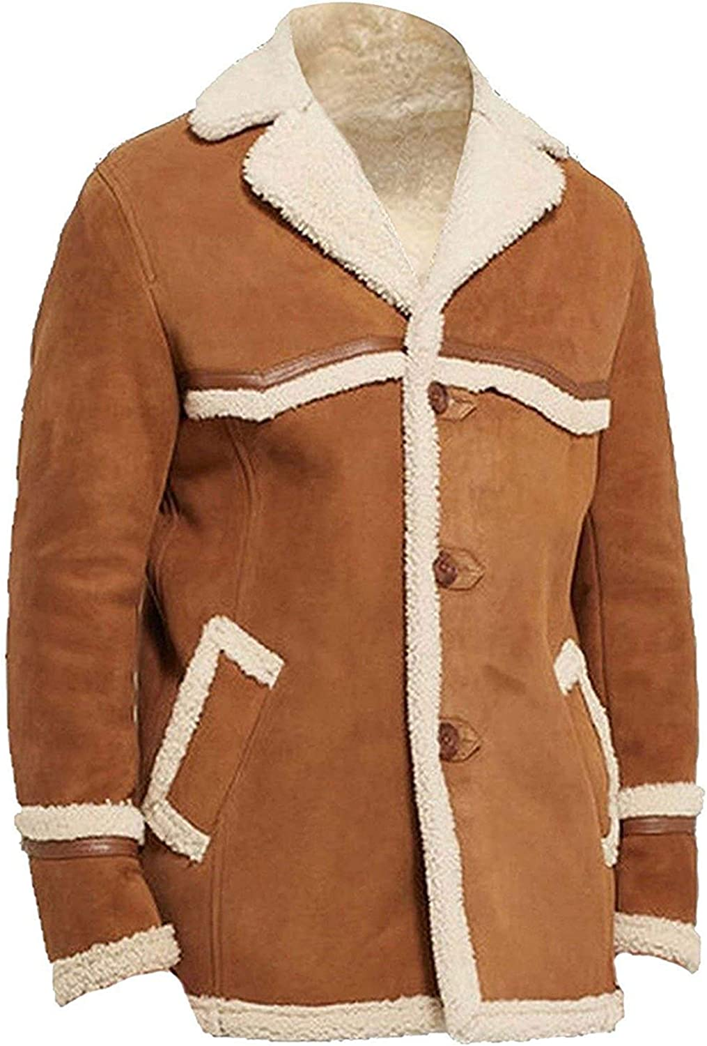 Men's Womens Brown Suede Leather Coat/Jacket With white Fur