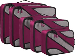 BAGAIL 5 Set Travel Packing Cubes Luggage Carry On Packing Organizers with YKK Zippers