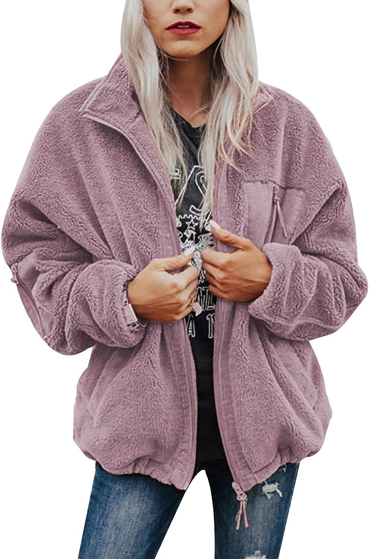 Arssm Women's Faux Fuzzy Sherpa Fleece Coat Outwear Shaggy Shearling Jacket