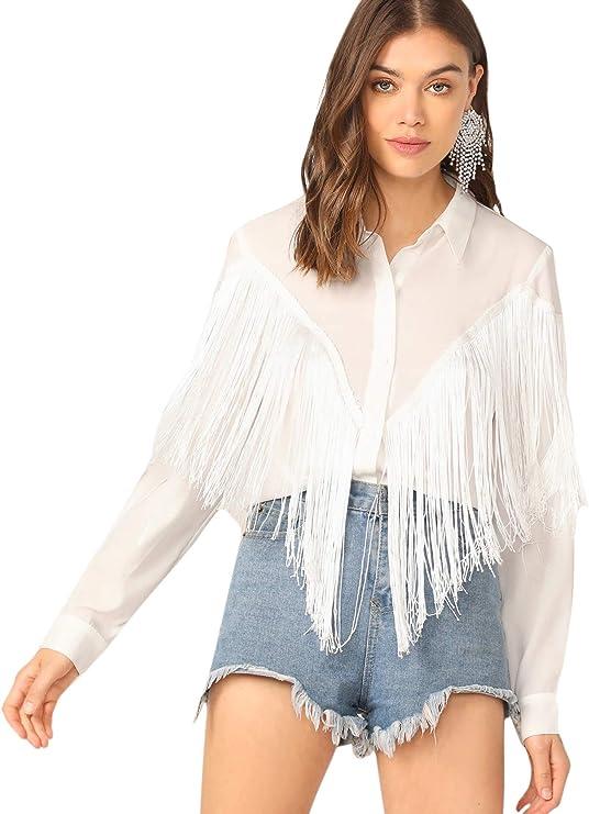 Vintage Western Wear Clothing, Outfit Ideas Verdusa Womens Fringe Trim Long Sleeve Button Up Blouse Shirt Top  AT vintagedancer.com