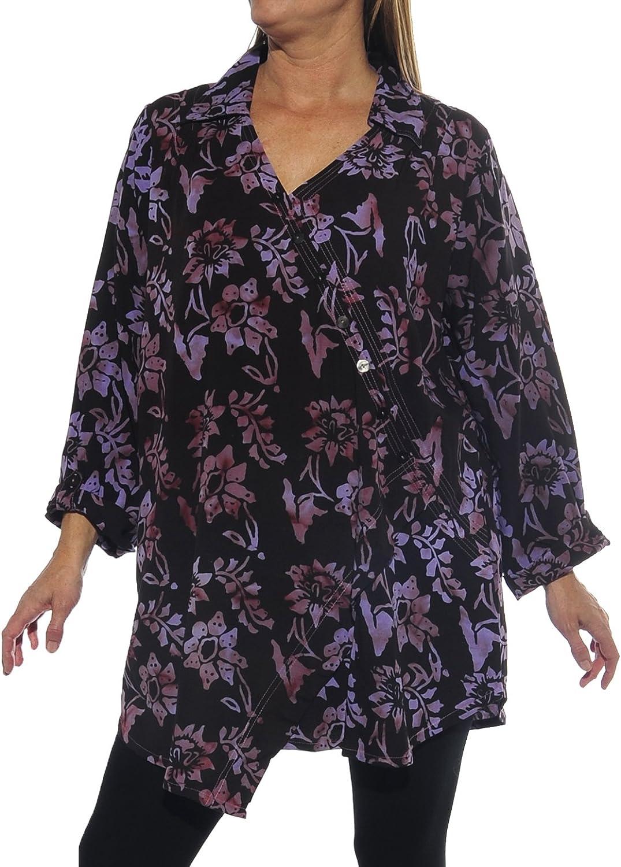 We Be Bop WeBeBop Womens Plus Size Starry Flower Purple Soho Blouse