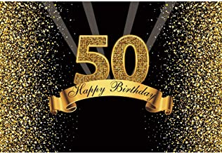 Yeele 5x3ft 50Th Birthday Backdrop for Photography Glitter Gold and Black Background Happy Birthday Party Decoration Banner Celebration Adult Photo Booth Shoot Vinyl Studio Props