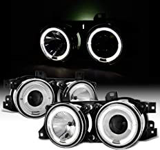 For BMW E34 E32 5/7 Series Chrome Bezel Dual Halo Ring Projector Headlights Lamps Left + Right