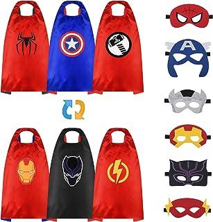 URAQT Superheld capes voor kinderen, 3-delige dubbelzijdige superheld satijnen cape en masker, superheld kostuum verkleedf...