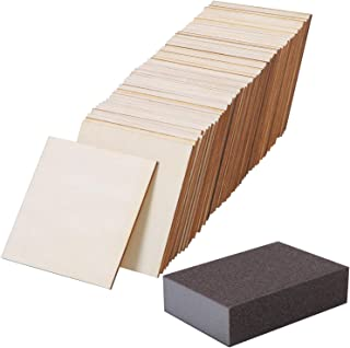 Ruisita 80 Pieces 4 x 4 Inch Square Unfinished Blank Wood Pieces with 1 Pack Sanding Sponge for Painting Writing and DIY Arts Crafts Project (80)